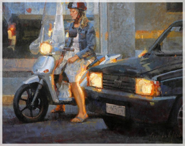 Woman on Scooter (Milano) / oil on canvas / 22Ó x 28Ó